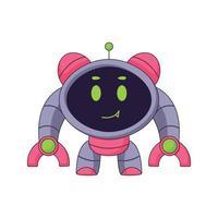 Lindo robot de dibujos animados doodle diseño de concepto dibujado a mano ilustración de arte vectorial kawaii vector