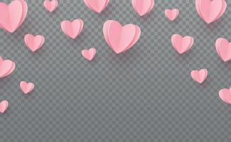 Gently pink-red hearts on a gray checkered background vector