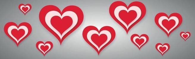 Corazón rojo festivo abstracto sobre fondo gris - ilustración vectorial vector
