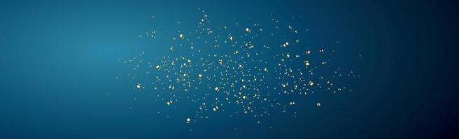 Bright golden confetti on a dark blue background - Vector illustration