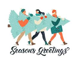 Merry Christmas and Happy New Year greeting card. People group carrying big xmas pine tree together for holiday season with ornament decoration, gifts. vector