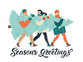 feliz navidad y próspero año nuevo tarjeta de felicitación. Grupo de personas que llevan un gran pino de Navidad juntos para la temporada navideña con adornos, regalos. vector