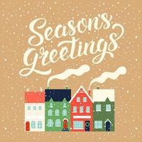 Winter houses for Christmas. Christmas card decor. Vector illustration