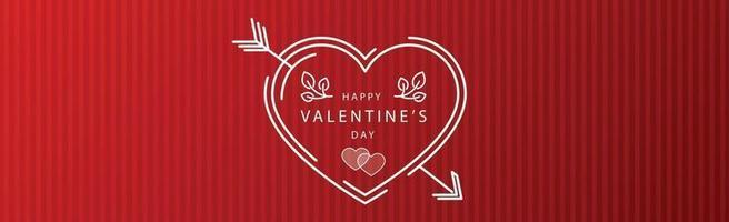 Corazón rojo festivo abstracto sobre fondo de rayas rojas - ilustración vectorial vector