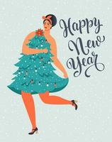 Girl in Christmas Tree Dress Form. Christmas and Happy New Year illustration. Trendy retro style. Vector design template.