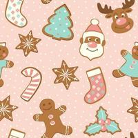 Set of cute gingerbread cookies for christmas. Isolated on white background. Vector seamless pattern.