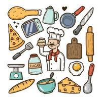 Cheff icons hand drawn doodle vector