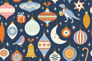 Merry Christmas and New Year card with various of Christmas toys and present in in retro mid century modern style. Winter holidays seamless pattern in vector. vector