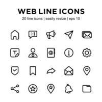 conjunto de iconos de línea web vector