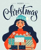 plantilla de navidad y feliz año nuevo con niña sosteniendo regalos vector