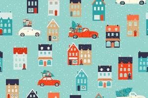 Winter houses for Christmas and Red retro car with a fir tree and gifts. Christmas fabrics and decor. Seamless pattern. vector