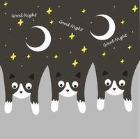 diseño de buenas noches de gatos vector