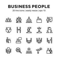 Business people line icon set vector