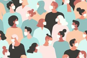nuevo coronavirus 2019 ncov, personas con mascarilla médica blanca. concepto de ilustración de vector de cuarentena de coronavirus. patrón sin costuras