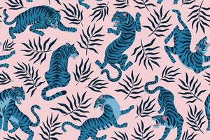 Tigers and tropical leaves. Trendy illustration. Abstract contemporary seamless pattern. vector