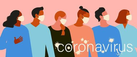 Novel coronavirus 2019 nCoV, women and men with medical face mask. Concept of coronavirus quarantine. The virus is like blots. Vector Illustration.
