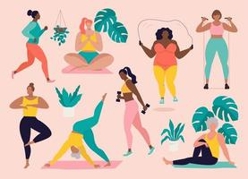 Women different sizes, ages and races activities. Set of women doing sports, yoga, jogging, jumping, stretching, fitness. Sport women vector flat illustration isolated pink background.