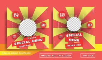 food social media promotion banner post design template vector