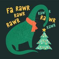 Tyrannosaurus Christmas Tree Rex Card. Dinosaur in Santa hat decorates Christmas tree garland lights. Vector illustration of funny character in cartoon flat style.