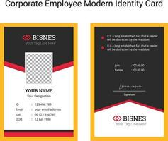 Imagen de vector de plantilla de diseño de tarjeta de identidad moderna de empleado corporativo