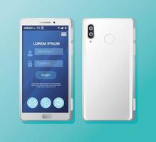 maqueta de teléfonos inteligentes realistas con inicio de sesión en pantalla vector