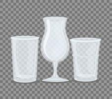 Transparent empty cup and glasses mockup vector