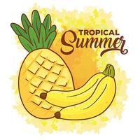 Banner de verano tropical con plátanos y piña. vector