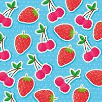 Strawberries and cherries pattern background vector