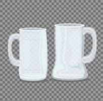 Transparent empty seidel glasses mockup vector