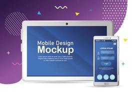 maqueta realista de teléfono inteligente y tableta vector