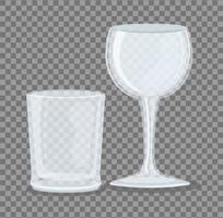 Transparent empty wine and short glass mockup vector