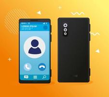 maqueta de diseño de teléfono móvil con póster de teléfono inteligente realista vector