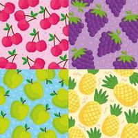 Tropical fruit pattern background set vector