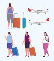 gente en el aeropuerto conjunto de iconos vector