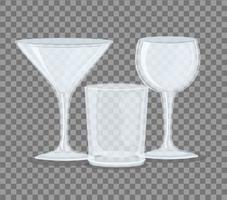 Transparent empty glasses mockups vector