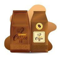 Coffee paper bag package design set vector