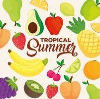 banner de verano tropical, con patrón de frutas frescas vector