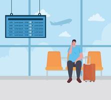 hombre sentado en la silla en la terminal del aeropuerto