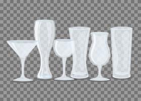 Transparent empty glass mockup set vector