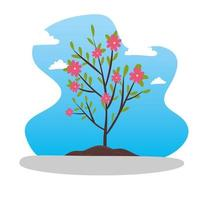 Small tree with leaves and flowers vector