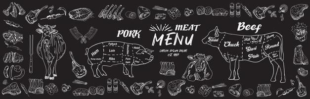 Butcher shop blackboard Cut of Beef Meat. vector