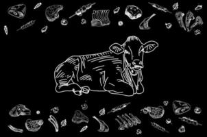 carnicería pizarra corte de carne de vacuno. vector