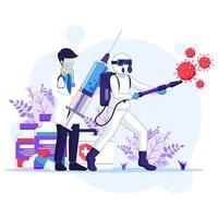 lucha contra el concepto de virus, el médico y las enfermeras usan armas para combatir la ilustración del coronavirus covid-19 vector