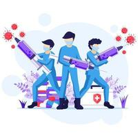 Fight the Virus Concept, Doctor and nurses use syringe to fight Covid-19 coronavirus illustration vector