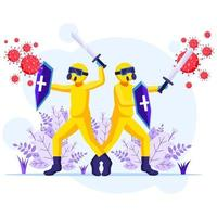 luchar contra el concepto de virus, los trabajadores desinfectantes con trajes de materiales peligrosos usan espada y escudo para luchar contra la ilustración del coronavirus covid-19 vector