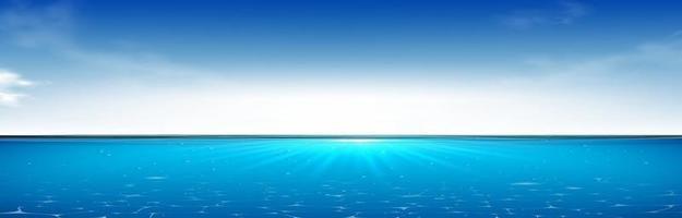 realista azul bajo el agua. Ilustración 3D. vector