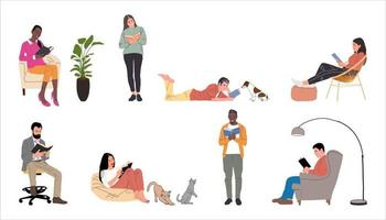 People or students reading and preparing for examination sitting on. vector