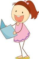 un niño garabato leyendo un libro personaje de dibujos animados aislado vector