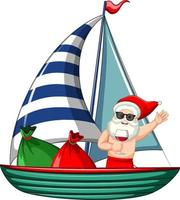 Santa Claus holding wine glass cartoon character standing on the boat with gift bag