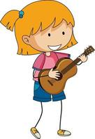 A girl playing acoustic guitar doodle cartoon character isolated vector
